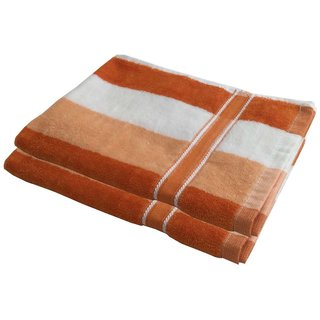 Lushomes Cotton Thick Stripes Orange Hand Towel (Pack of 2 pcs)