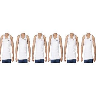 Silba Men White Vest Pack Of 6