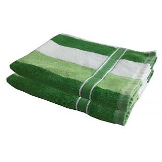 Lushomes Cotton Thick Stripes Lime Green Hand Towel (Pack of 2 pcs)