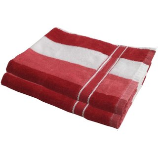 Lushomes Cotton Thick Stripes Red Hand Towel (Pack of 2 pcs)