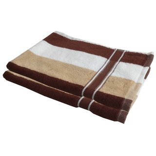 Lushomes Cotton Thick Stripes Brown Hand Towel (Pack of 2 pcs)