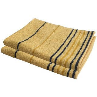 Lushomes Cotton Thin Stripes Yellow Hand Towel (Pack of 2 pcs)