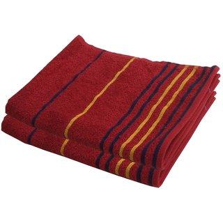 Lushomes Cotton Thin Stripes Red Hand Towel (Pack of 2 pcs)