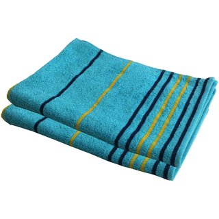 Lushomes Cotton Thin Stripes Turquoise Hand Towel (Pack of 2 pcs)