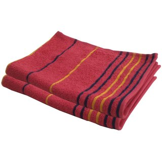 Lushomes Cotton Thin Stripes Pink Hand Towel (Pack of 2 pcs)