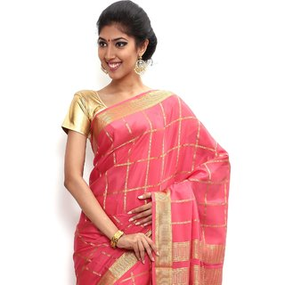 Wonderful Pure Mysore silk saree-Pink-SSSB120-VQ-Crepe