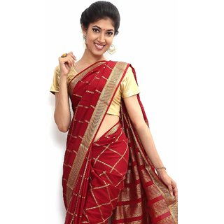 Wonderful Pure Mysore silk saree-Red-SSSB123-VQ-Crepe