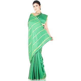 100 Pure Mysore Traditional Silk-Green-SSSB51-Crepe