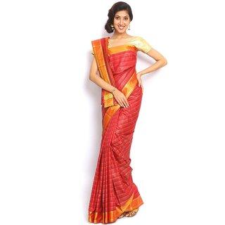 Sudarshansilk Red Art Silk Self Design Saree With Blouse