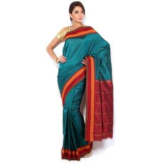 Sudarshansilk Blue Silk Self Design Saree With Blouse