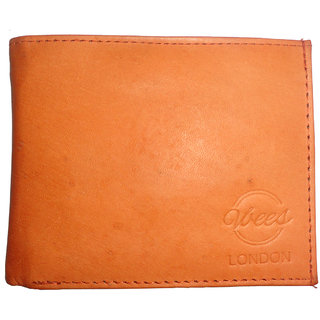 Vbees Men Evening/Party Orange Genuine Leather Wallet