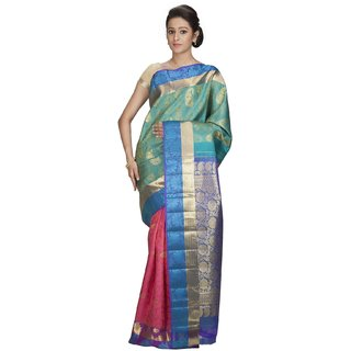 Sudarshansilk Multicolor Silk Self Design Saree With Blouse