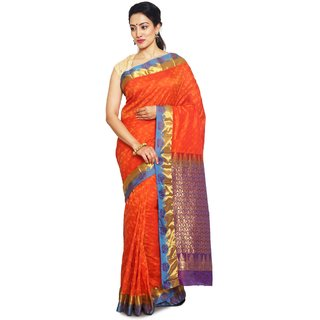 Sudarshansilk Red Silk Self Design Saree With Blouse