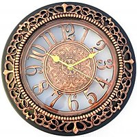 kartique copper finish with 3d numbers wall clock in 1