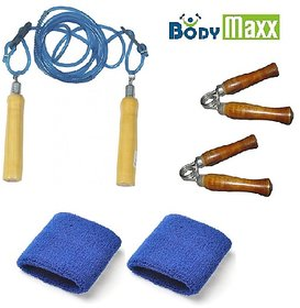 Body Maxx Hand Grippers + Skipping Rope + Wrist bands x 1 pair
