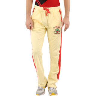 Red Line Mens Pastel Yellow Cotton Trackpant
