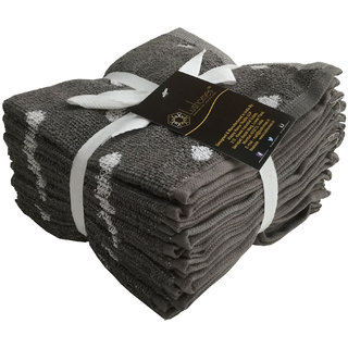 Lushomes Gray Polka Dots Set of 8 Fluffy Face Towels (Size 12x12)