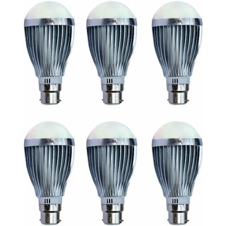 JaiLux LED Aluminium Bulb 12w, B22 Base , Pack of 6 , White