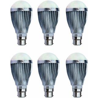 JaiLux LED Aluminium Bulb 12w, B22 Base , Pack of 6 , White