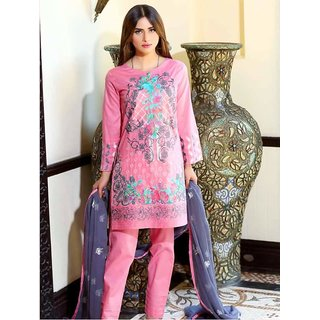 Embroidered Lawn fabric collection with pure chiffon dupatta