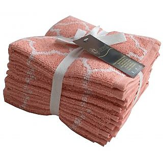 Lushomes Pink Latic Set of 8 Fluffy Face Towels (Size 12x12)