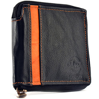 Vbees London Men Black, Orange Genuine Leather Outer Zip Wallet