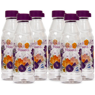 GPET Fridge Water Bottles 1 ltr Spring Flower Plastic cap Set of 6