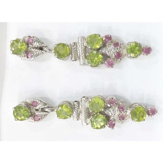 Peridot  Ruby-earring made in silver with rhodium plating