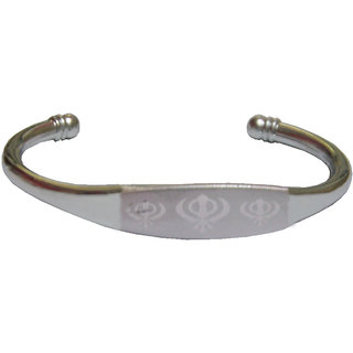 Men Style Khanda   Silver  Stainless Steel Tone Half Kada For Men And Women