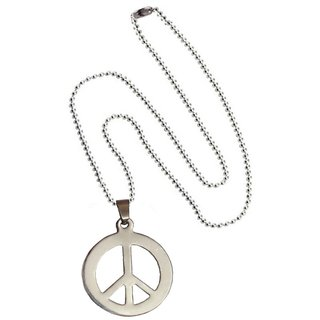 Men Style Hot Selling High Polished  Peace Sign Symbol  Silver  Stainless Steel Circle Pendent For Men And Women