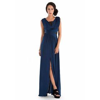 Geet Textiles Blue Lycra Gown GT174