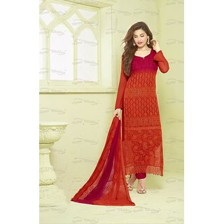 Ladyview Red  Dark Pink Embroidered Chiffon Straight Suit