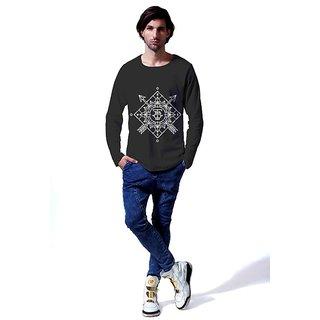SINSFOREVER Black Polyester Lycra Suspicious Mens Printed T Shirt