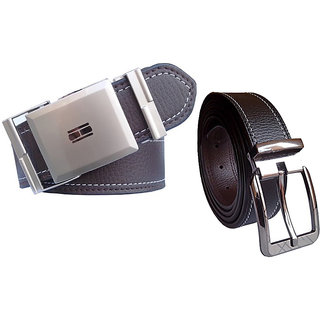Wholesomdeal Black & Brown Leatherite Belt For Mens (Synthetic leather/Rexine)