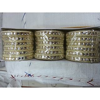 Bangles(rajputi kundan dhalu)3 sets