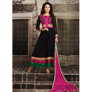Swaron Black and Pink Georgette Embroidered Semi-Stitched Party Wear Salwar Suit 131D10004
