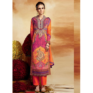 Swaron Orange Crepe Embroidered Semi-stitched Party Wear Salwar Suit 211D5111