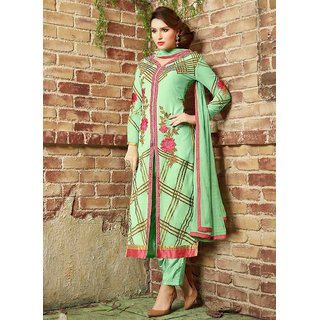 35ad03e66 Buy Swaron Light Green Georgette Embroidered Semi-Stitched Party Wear Salwar  Suit 356D3091 Online - Get 79% Off