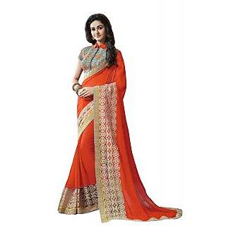 FABKAZs Women Georgette Orange colour Embroidery heavy net lace border workDesigner saree