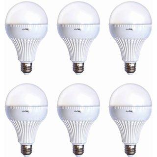 JaiLux 18w LED Economy Bulb, E27 Screw Base, Pack of 6, White