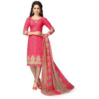 DnVeens Red Floral Crepe Salwar Suit Material (Unstitched)