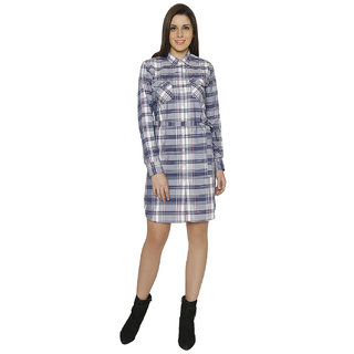 Crisp Outfitters Womens 100 Cotton Checkered Multicolour Dress