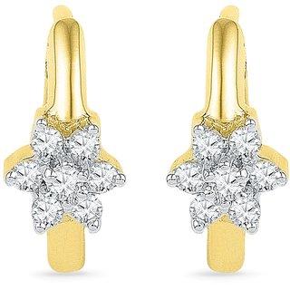 Ishis 18Kt Yellow Gold Diamond Hoop Earring (0.10 CT)