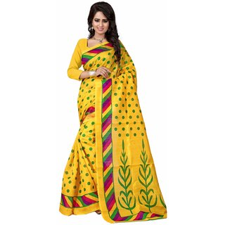 Stylife Designer Bhagalpuri Silk Yellow Saree