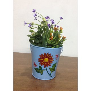 Planter / Plant Pot Table Top Patch Work Blue