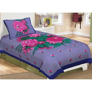 Pink Rose Printed Cotton Single Bedsheet(SFP15SPG51)