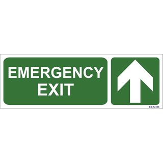 SignageShop  Glow in Dark Emergency Exit with arrow Sign