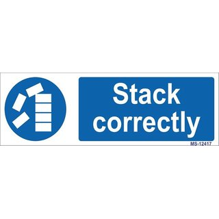 SignageShop  High quality Vinyl Stack Correctly Sign (Pack of 5 Nos)