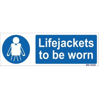 SignageShop  High quality Vinyl Lifejackets to be worn Sign (Pack of 5 Nos)