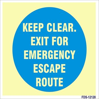 SignageShop  Glow In Dark Keep clear, Exit for emergency escape route Sign